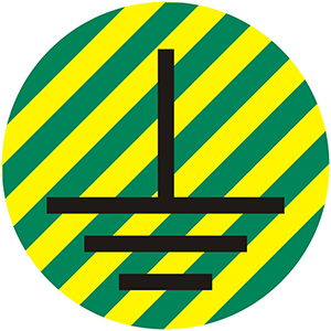 Ground Symbol - Cable Labels, Yellow Green