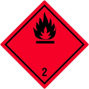 Gefahrgutetiketten Klasse 2, Entzündbare Gase