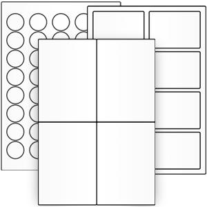 Weiße Papier-Etiketten auf Bogen