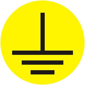 Ground Symbol - Operational Equipment Labels, Yellow