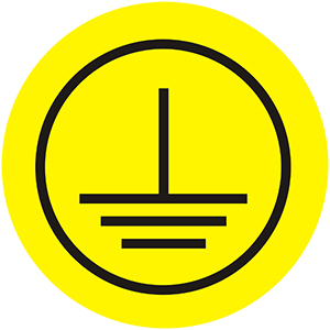 Protective Conductor, Class 1 - Operational Equipment Label, Yellow