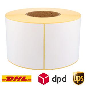 Thermo-Eco-Etiketten, weiß, unbeschichtet, permanent klebend, auf 76,2 mm Rollenkern