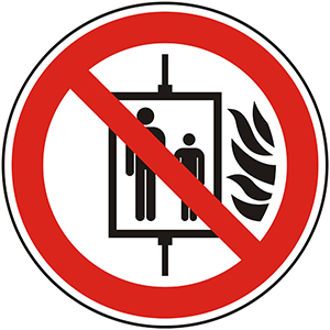 Prohibition Sign: Do Not Use Elevator in Case of Fire