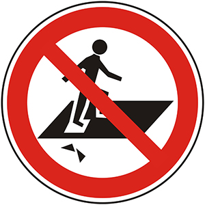 Prohibition Sign: No Access, Fragile Roof
