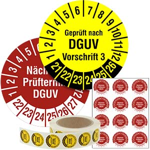 Inspection Date Labels: DGUV - in Pack & on Roll