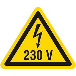 Gefahr durch Elektrizität 230V
