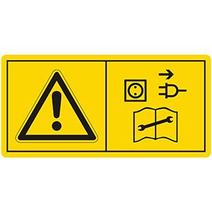 Gefahrenbildzeichen: Vor Reparatur-, Wartungs- und Reinigungsarbeiten Motor abstellen und Netzstecker ziehen