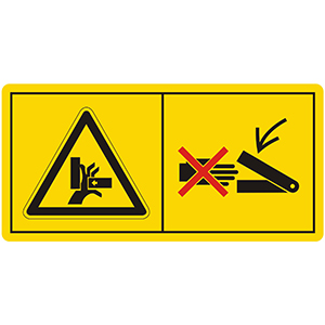 Gefahrenbildzeichen: Niemals in den Quetschgefahrenbereich greifen, solange sich dort Teile bewegen können
