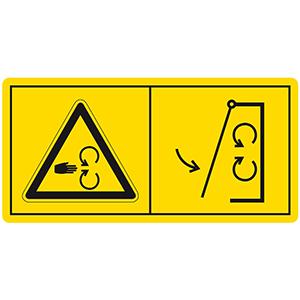Gefahrenbildzeichen: Schutzeinrichtungen vor Inbetriebnahme der Maschine schließen