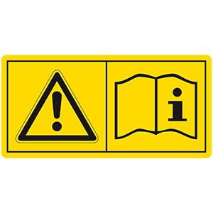 Gefahrenbildzeichen: Vor Inbetriebnahme die Betriebsanleitungen und Sicherheitshinweise lesen und beachten