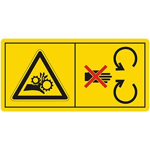 Gefahrenbildzeichen: Schutzeinrichtungen bei laufendem Motor nicht öffnen oder entfernen