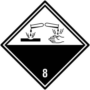 Gefahrgutetiketten Klasse 8 - Ätzende Stoffe
