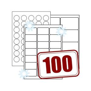 Glossy Papieretiketten, weiß, permanent klebend, hochglänzend, auf DIN A4, 100 Blatt