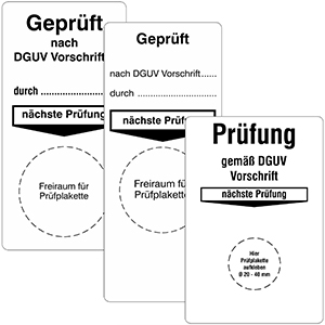 "Base Labels ""DGUV Vorschrift"" - Different imprints"