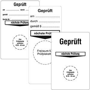 "Base Labels ""Geprüft"" - Different imprints"