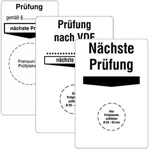 "Base Labels ""Prüfung / Nächste Prüfung"" - Different imprints"