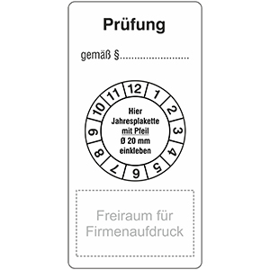 """Base Labels """"Prüfung"""" with space for company imprint"""