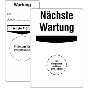 "Base Labels ""Wartung"" - Different imprints"