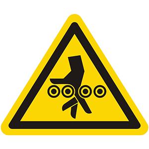 Warnung vor Handverletzung bei Einzugsgefahr durch Walzen