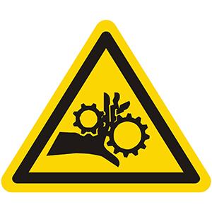 Warnung vor Handverletzung bei Zahnradantrieb