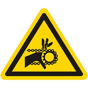 Warnung vor Handverletzung durch Kettenantrieb