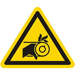 Warnung vor Handverletzung durch Riemenantrieb