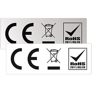 Kombinierte CE-, WEEE- und RoHS-Kennzeichnung