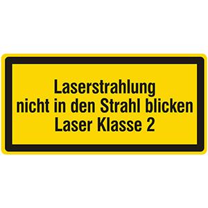 Laser Warning Labels: Laserstrahlung, nicht in den Strahl blicken, Laser Klasse 2