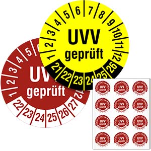 Inspection Date Labels: UVV geprüft, multi-year - in Pack