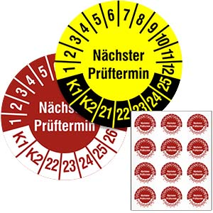 Mehrjahresprüfplakette: Nächster Prüftermin / K1, K2 - im Pack