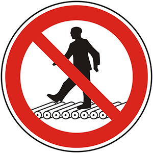 Prohibition Sign: Do Not Step on Roller Conveyor