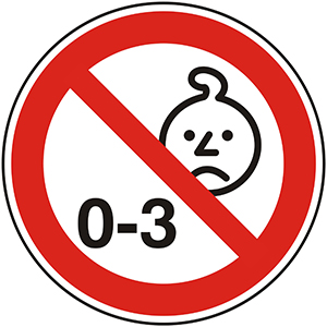 Prohibition Sign: Not suitable for children under 3 years
