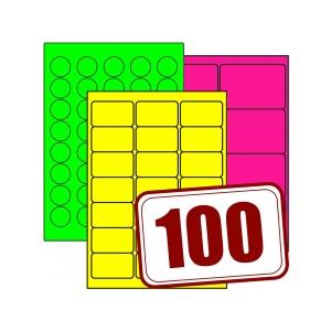 Papieretiketten, farbig, permanent klebend, matt, auf DIN A4, 100 Blatt