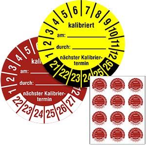 Mehrjahresprüfplakette: Kalibriert am / durch / nächster Termin - im Pack