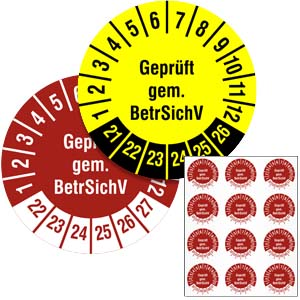 Inspection Date Labels: BetrSichV -  in Pack
