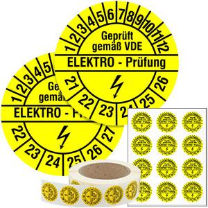 Mehrjahresprüfplakette: Geprüft gemäß VDE Elektro-Prüfung - im Pack & auf Rolle