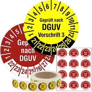 Inspection Date Labels: Geprüft nach DGUV Vorschrift -  in Pack & on Roll