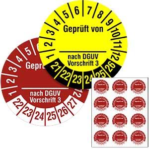 Inspection Date Labels: Geprüft von ... nach DGUV Vorschrift 3 - in Pack