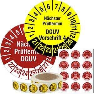 Inspection Date Labels: Nächster Prüftermin DGUV Vorschrift 3 - in Pack & on Roll