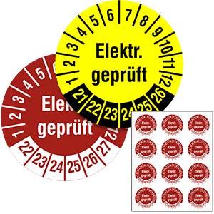 Mehrjahresprüfplakette: Elektr. geprüft - im Pack
