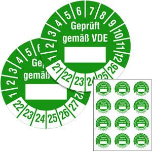 Mehrjahresprüfplakette: Geprüft gemäß VDE - im Pack