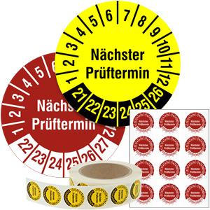 Mehrjahresprüfplakette: Nächster Prüftermin - im Pack & auf Rolle