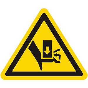 Warnung vor Quetschgefahr durch Einpresswerkzeug