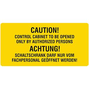 Warnzeichen: Schaltschrank darf nur vom Fachpersonal geöffnet werden