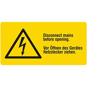 Vor Öffnen des Gerätes Netzstecker ziehen