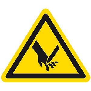 Warnung vor Schnittverletzung
