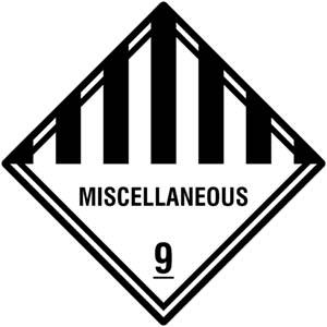 """Selbstklebende Gefahrzettel """"MISCELLANEOUS"""" Klasse 9"""