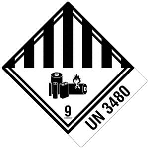 Transportaufkleber: Lithium-Ionen-Batterien (UN-Nummer 3480)