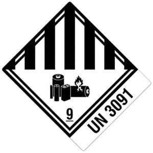 Transportaufkleber: Lithium-Metall-Batterien (UN-Nummer 3091)