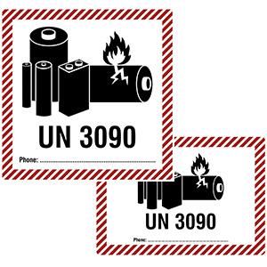 Transportaufkleber für Lithium-Metall-Batterien (UN 3090) mit Telefonnummern-Feld